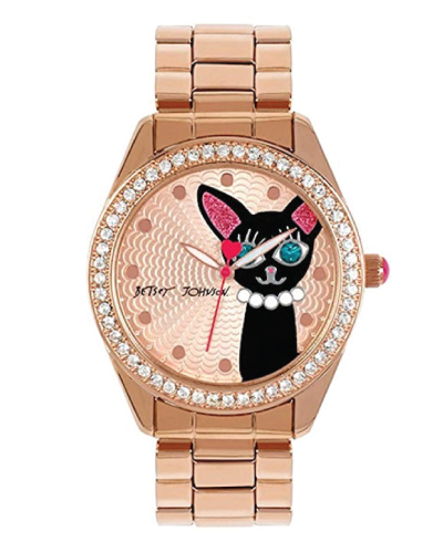 Betsey Johnson Black Cat Rose Gold Bling Watch