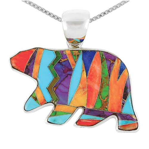 Turquoise Bear Pendant Necklace