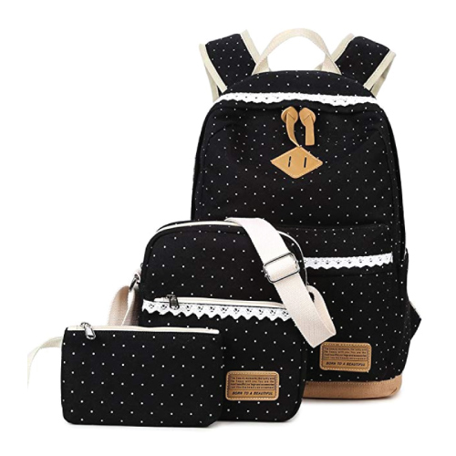 Abshoo Canvas Dot Backpack Set