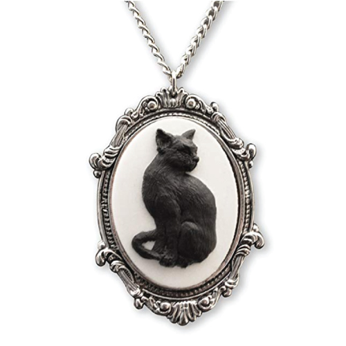 Black Cat Cameo in Antique Frame Necklace