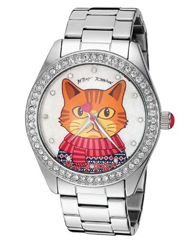 Betsey Johnson Cat Motif Dial Watch