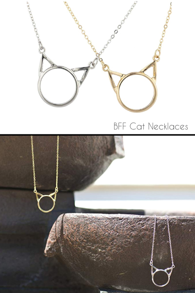 Lux Accessories BFF Cat Necklace Set