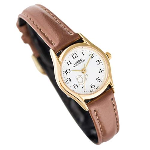 Casio Women's Cat Motif Leather Watch