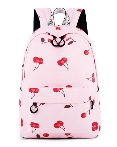 Cherry Backpack Pink School College Teen Girls Teenagers