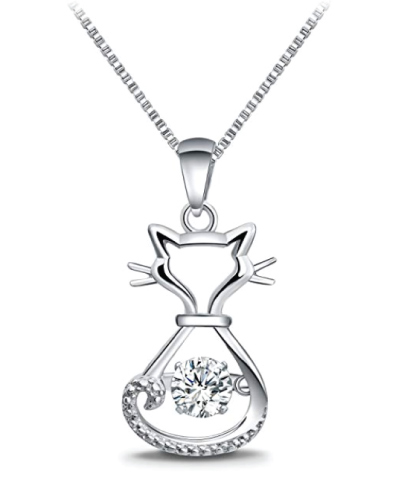 Sterling Silver Dancing Diamond Cat Necklace