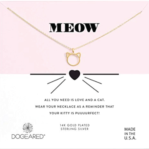 Dogeared Women's Meow, Cat Head Necklace
