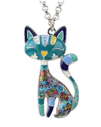 BONSNY Statement Enamel Cat Necklace