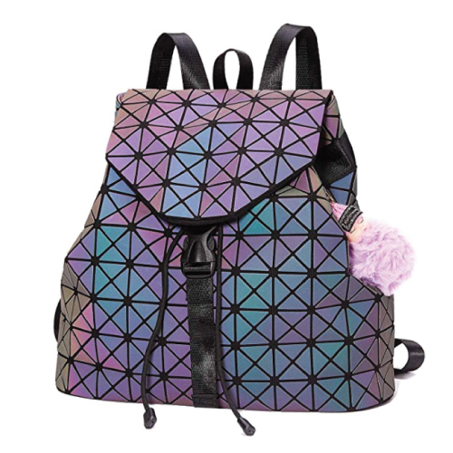 Cool Harlermoon Geometric Holographic Reflective School Bags Backpacks