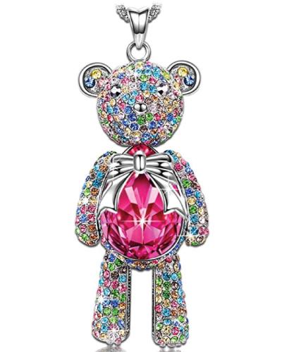 Swarovski Crystal Teddy Bear Necklace