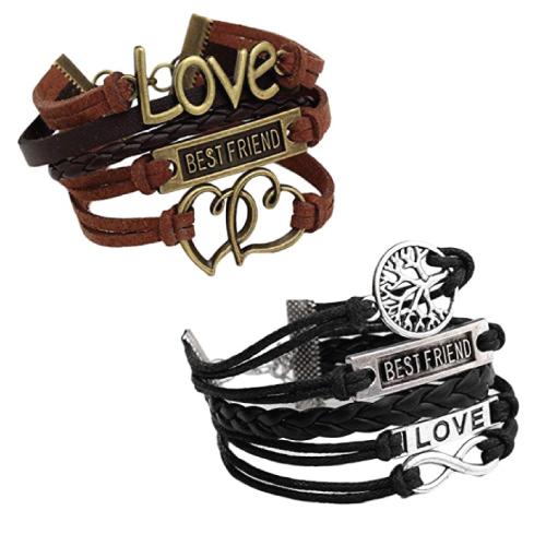 Jovivi Infinity Love Best Friend Wrap Cuff Bracelet