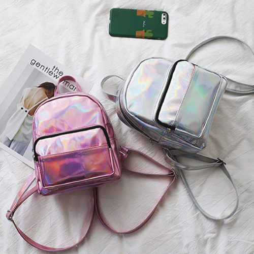 cute-mini-backpacks Holographic Laser Leather Backpack