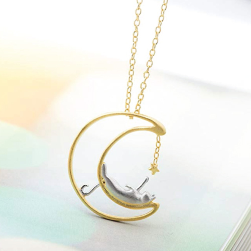 Meow Star Moon Cat Necklace