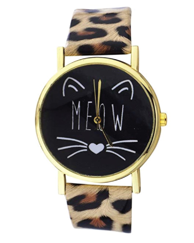 Lux Accessories Meow Cat Face Watch