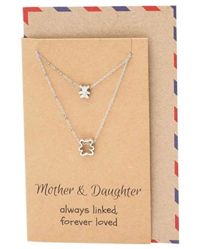 Sentimental Daughter & Mama Bear Pendant Necklace