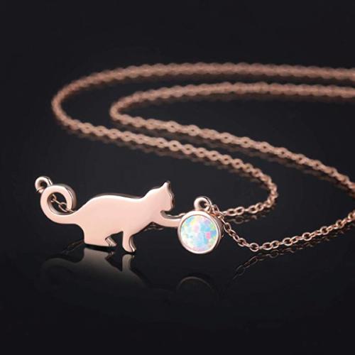Opal Cat Necklace