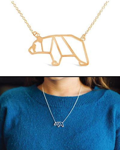 Origami Gold Mama Bear Necklace