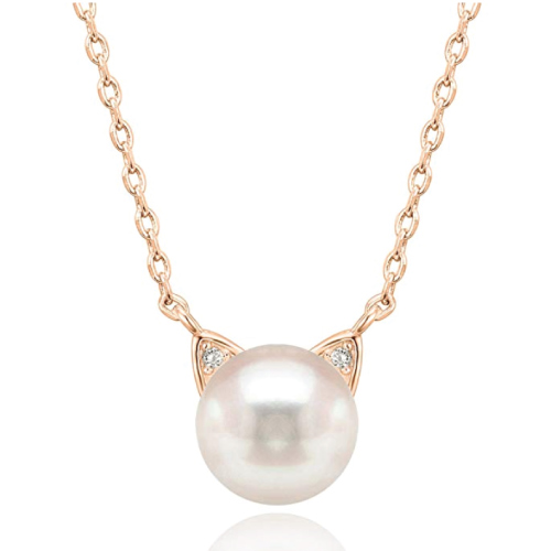Pearl Cat Pendant Necklace