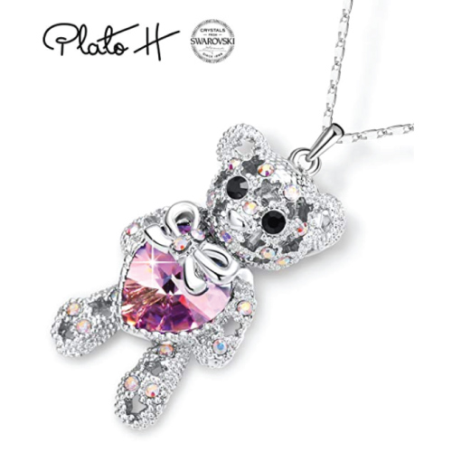 Swarovski Crystal Heart Bear Necklace