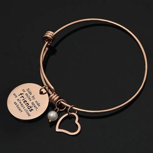 Friendship Sisters Quote Bangle Bracelet