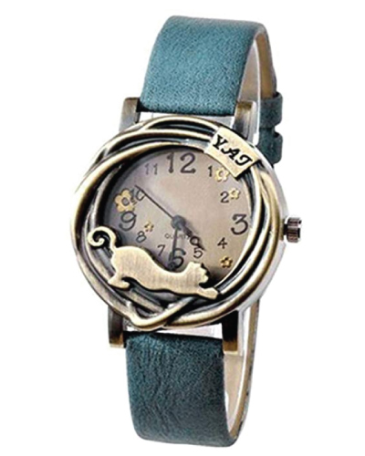 Sanwood Vintage Flower and Cat Watch