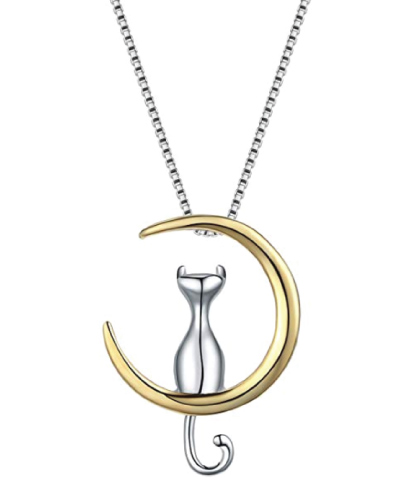 WRISTCHIE Jewelry Cat On Moon Pendant Necklace
