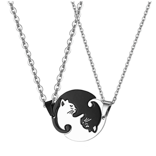 His Hers Yin Yang Cat Puzzle Pendant Necklace for Couples