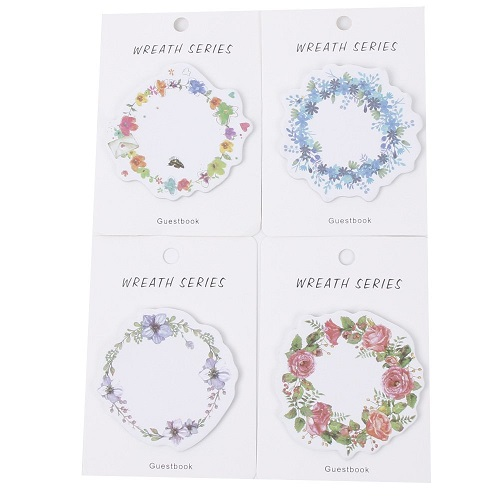 Floral Garland Wreath Self-Stick Notes