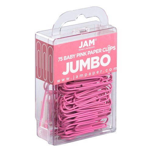 JAM PAPER Pink Jumbo Paper Clips Pink Back to School Supplies