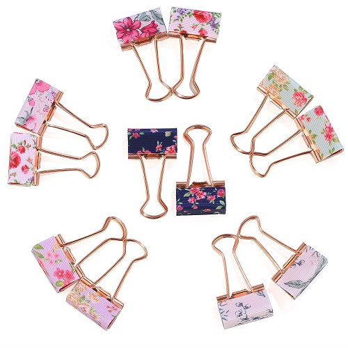 Small Floral Binder Clips