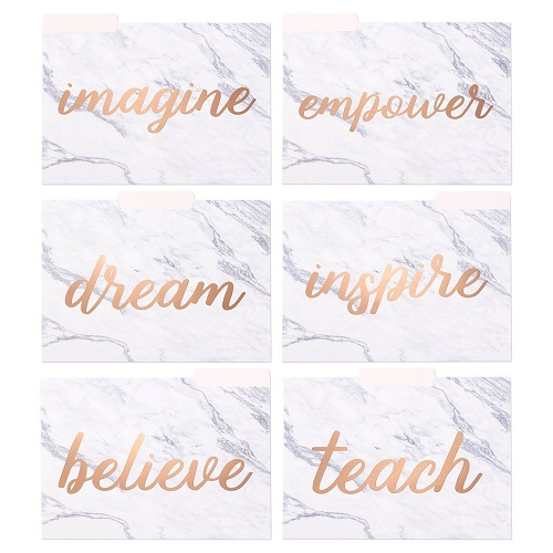 Rose-Gold Marble Teacher File Folders