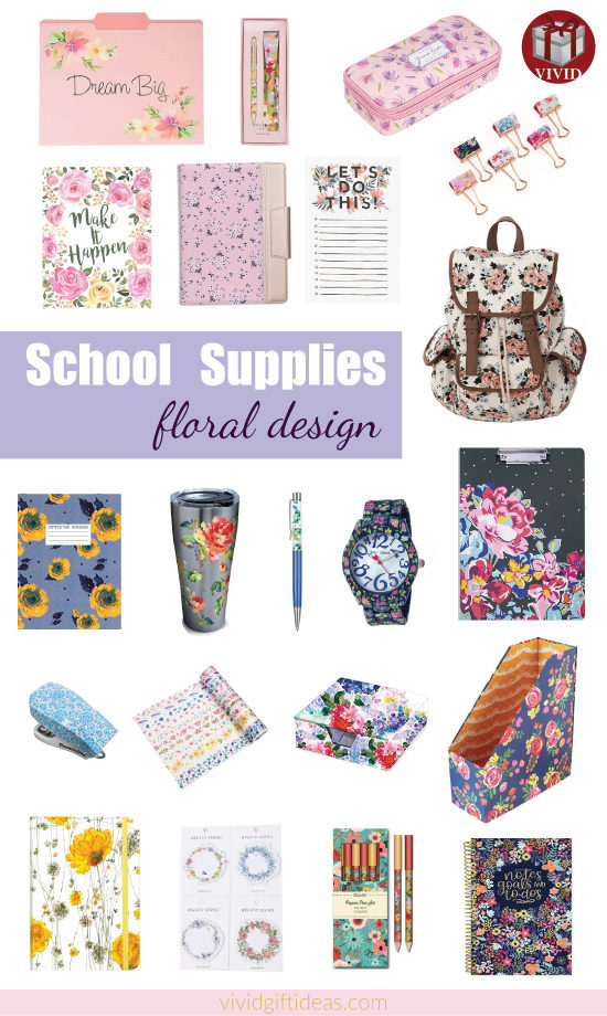 Floral School Supplies and Desk Accessories