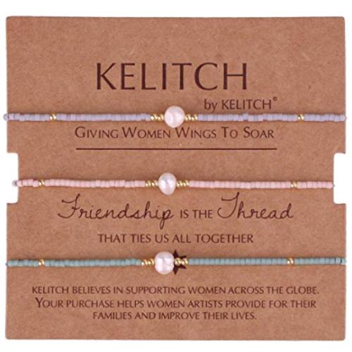 KELITCH Shell Pearl Beads Friendship Bracelets For Three Friends