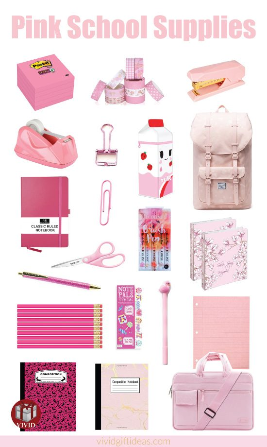 Pink Back to School Supplies