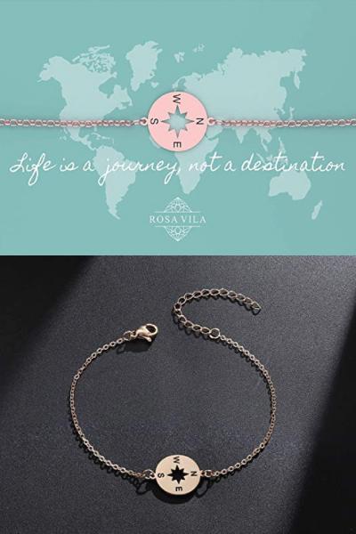 Rosa Vila Inspirational Compass Bracelet For Best Friend