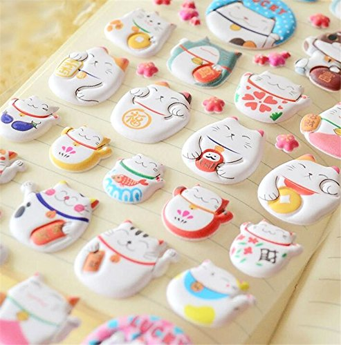 Japanese Maneki Neko Foam Stickers | Kawaii Stationery
