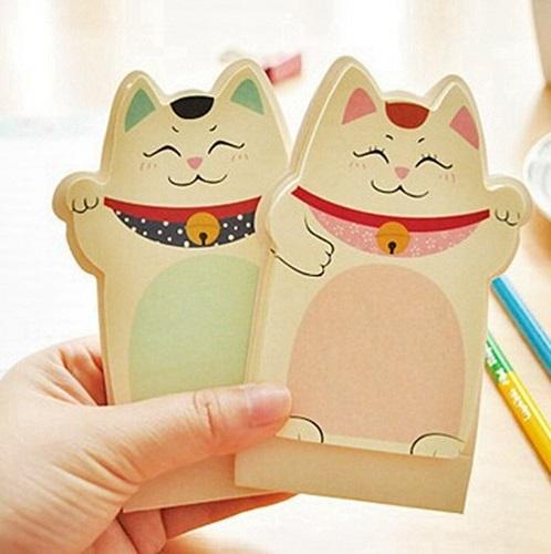 Lucky Cat Shaped Sticky Notes | Kawaii Stationery
