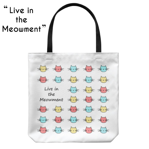 Live In The Meowment Cat Tote Bag | Teen Girl Stocking Stuffers
