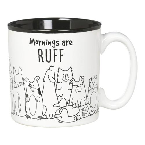 Funny Work Mugs: Mornings are Ruff Dog Lovers Coffee Mug for Work
