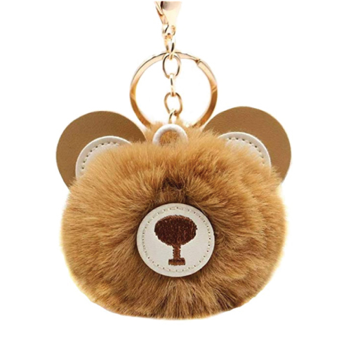 Brown Bear Puffball Keychain