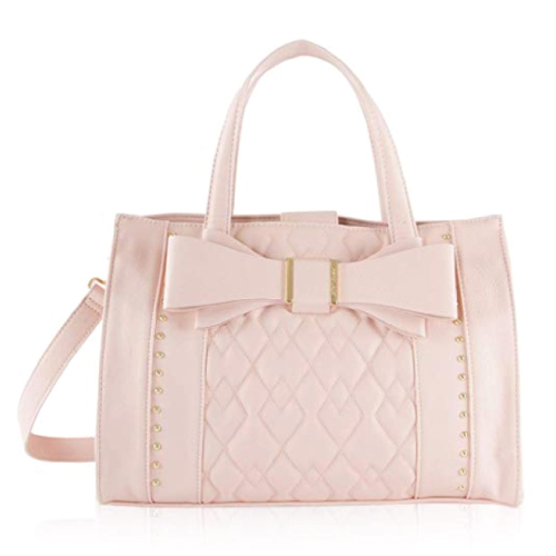 Betsey Johnson Women's Quilted Bow Satchel   Christmas Gifts for Teen Girls
