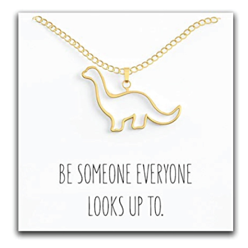 Happy Kisses Dinosaur Brontosaurus Necklace | Stocking Stuffers for Tweens