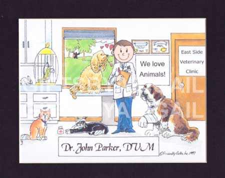 gifts-for-veterinarians-personalized-cartoon-framed