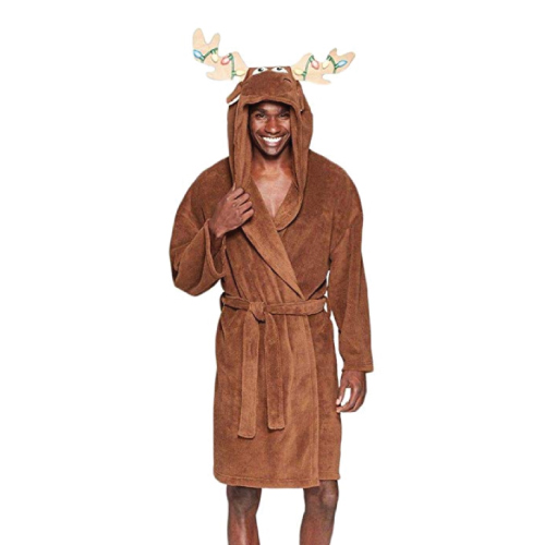 Christmas Gift Ideas | Holiday Moose Hooded Plush Robe | Gifts for Boyfriend