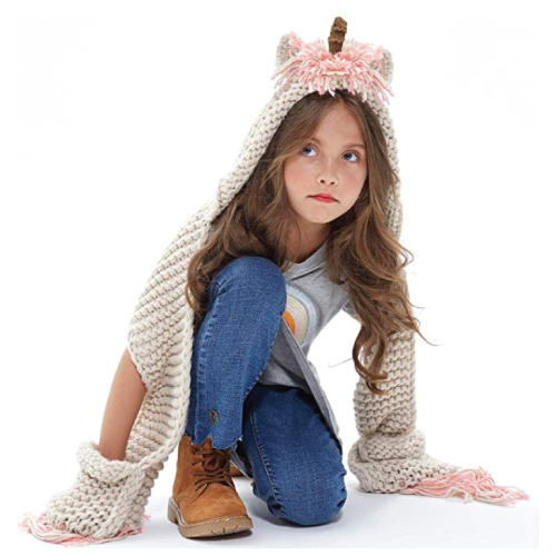 Unicorn Winter Hat with Scarf | Stocking Stuffers for Tweens