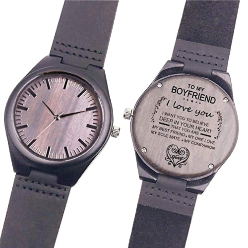 Love Quote Engraved Wooden Watch