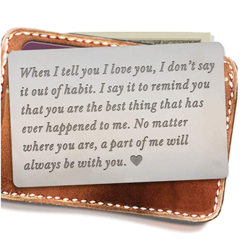 Love Sentiment Engraved Wallet Inserts