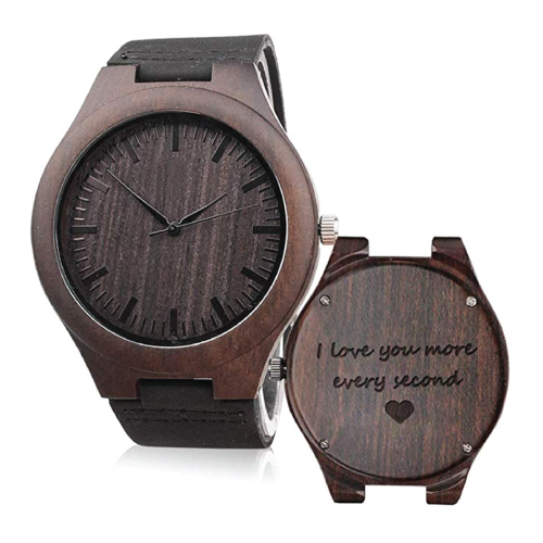 Christmas Gift Ideas | Love Quote Engraved Wooden Watch | Gifts for Boyfriend