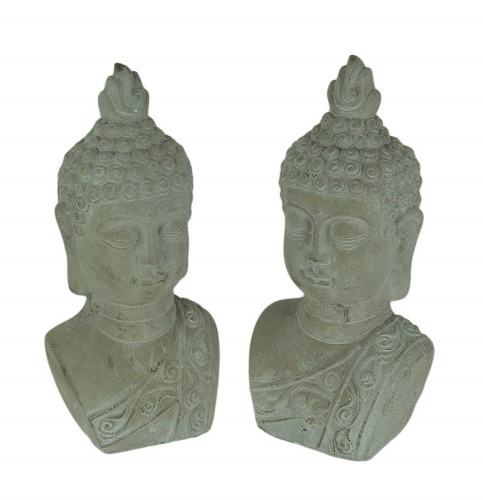 Grey Stone Cement Buddha Statue Bookends