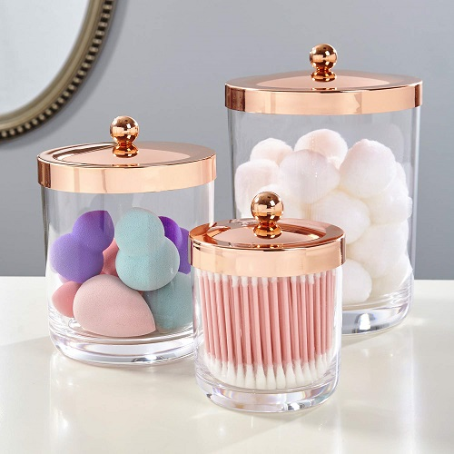 Clear Rose Gold Storage Jar Set