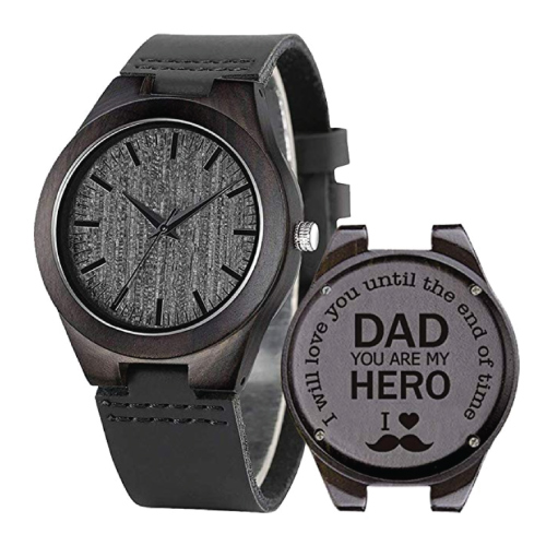 Dad, My Hero Engraved Wooden Watch